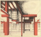 G. Barkhin. Izvestiya Newspaper Office and Printing Factory in Moscow. Sketches. 1925 c