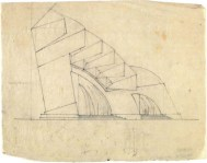 G. Gol'ts. N. Ladovsky's workshop Architectural and Spatial Design of the Entrance to the Nikitsky Boulevard in Moscow. Sketches. 1920-1921 c