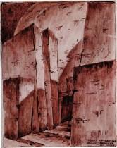 I. Frantsuz. I. Golosov and K. Mel'nikov's workshop Crematorium. Sketch. 1922