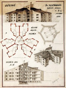 I Sobolev. L Vesnin's workshop Three-storey Apartment Building with one staircase. 3rd year. 1923