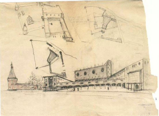 I. Sobolev, Palace of Culture of the Likhachev Automobile Works (ZIL) in the Proletarsky District of Moscow. Competition project. Sketches. 1930 a