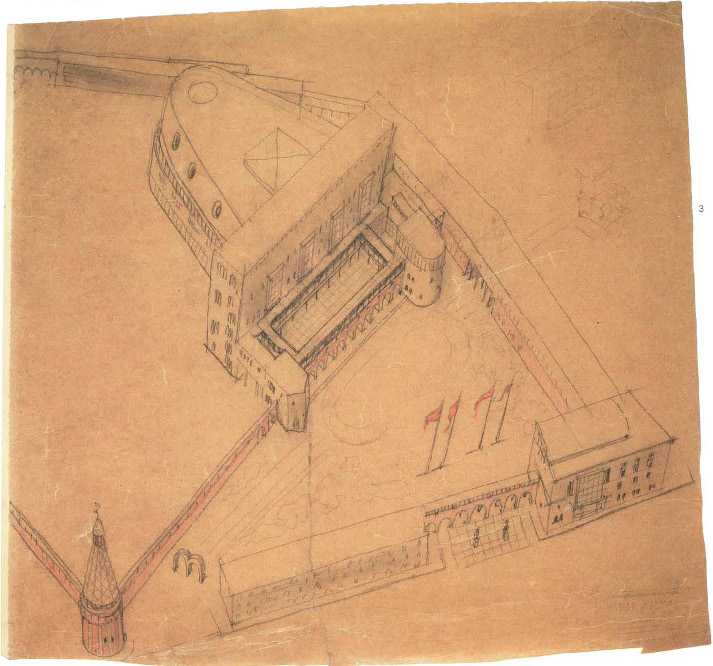 I. Sobolev, Palace of Culture of the Likhachev Automobile Works (ZIL) in the Proletarsky District of Moscow. Competition project. Sketches. 1930 b
