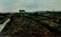 Landscape near Amsterdam probably 1902, oil on canvas, 11 × i 8 in (29 x48 cm) Michel Seuphor collection, Paris