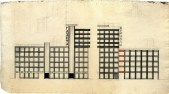 N. Umansky. A. Shchusev's workshop. Newspaper Printing Factory in Moscow. Last course project. Sketch. 1925:1926