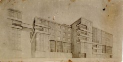 O. Ivanova. Communal House Main Facade. Exercise on the Expressiveness of a Frontal Surface. 2nd year. 1927:1928. Photos 1