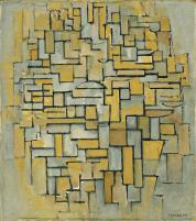 "Piet Mondrian, Dutch, 1872-1944 Title Composition in Brown and Gray (Gemälde no. II _ Composition no. IX _ Compositie 5) Work Type Painting Date 1913 Material Oil on canvas Measurements 33 3_4 x 29 3_4"" (85.7 x 75.6 cm)"