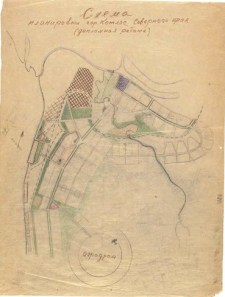 V. Kolpakova, N. Kolpakova. Consultant T. Varentsov. Layout for the City of Kotlas in the Northern Territory. Schematic map of existing conditions of the city. Zoning and layout options. Layout for a mikrorayon [micro-district]. Sketches. 1931 b