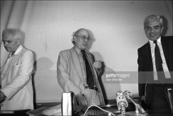 Joint press conference given by a PLO head and an Israeli army officer in Paris, France on July 20, 1982 - Israel's Gen. Matti Peled, Orientalist Maxime Rodinson, Issam Sartaoui, adviser to the PLO's Yasser Arafat (July 20, 1982) a