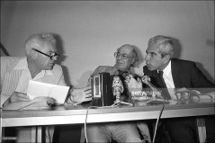 Joint press conference given by a PLO head and an Israeli army officer in Paris, France on July 20, 1982 - Israel's Gen. Matti Peled, Orientalist Maxime Rodinson, Issam Sartaoui, adviser to the PLO's Yasser Arafat (July 20, 1982)
