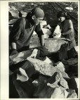 Margaret Bourke-White, Russian male & female quarry workers loading hoppers w. rocks for making cement at factory (Novosibirsk, 1931)
