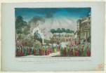 Vue du jardin national et des décorations, Le jour de la fête célébrée en l'honneur de l'Etre Suprême le Décadi 20 Prairial l'an 2e de la Republique Francaise [8 juin 1794] [estampe]