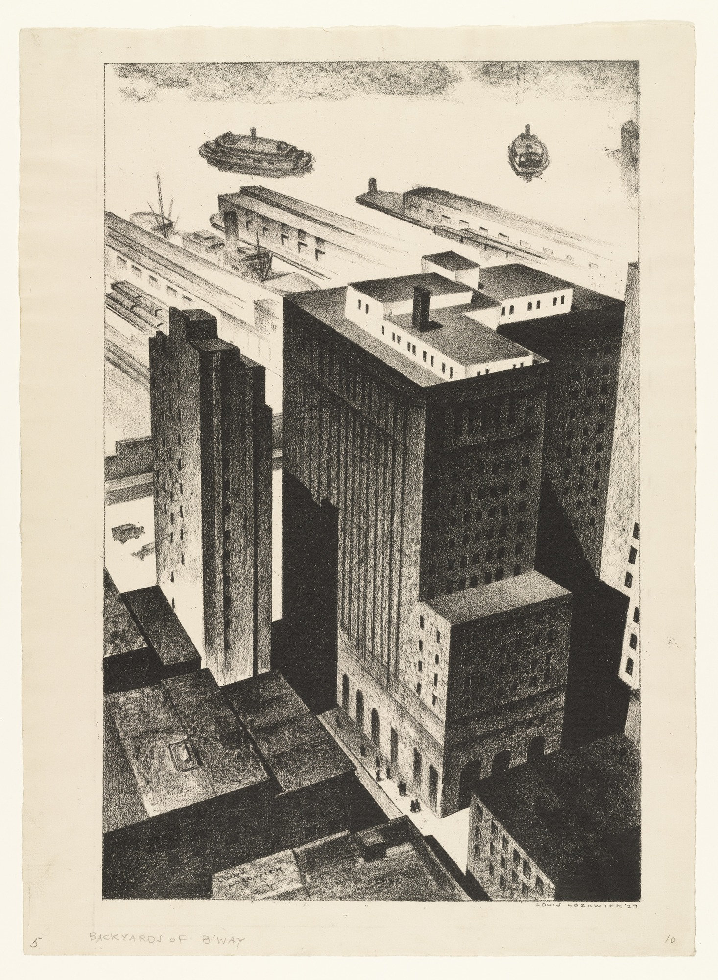 Louis Lozowick Backyards of Broadway 1926, dated 1927