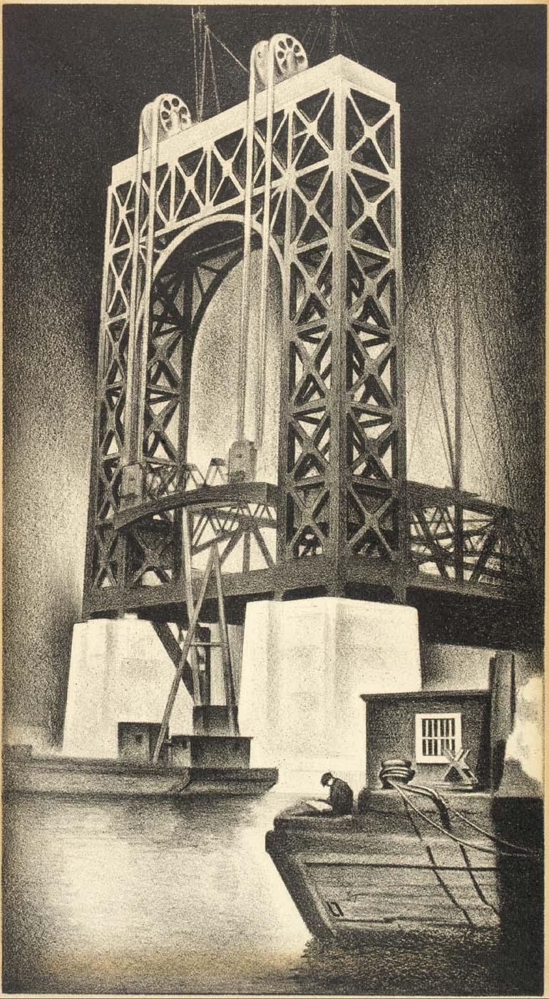 Louis Lozowick- Mural Study-Triborough Bridge, 1936