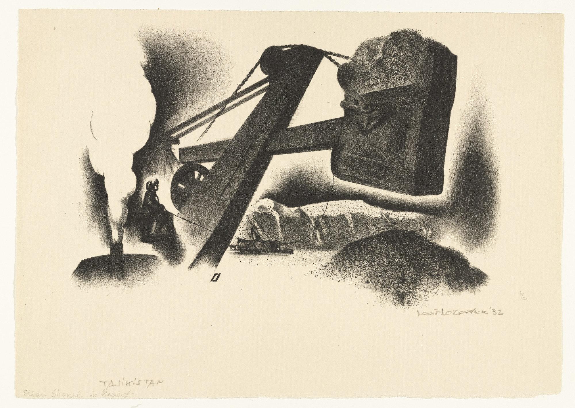 Louis Lozowick Tajikistan, Steam Shovel in Desert 1932