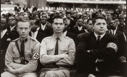 George Lincoln Rockwell and members of the American Nazi Party attend a Nation of Islam summit in 1961 to hear Malcolm X speak