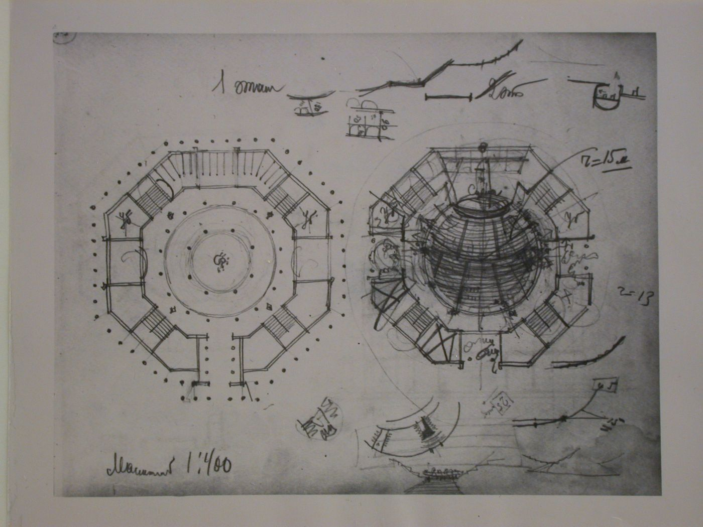 Photograph of first and second floor plans for the club of the Izvestiia newspaper combine, Moscow