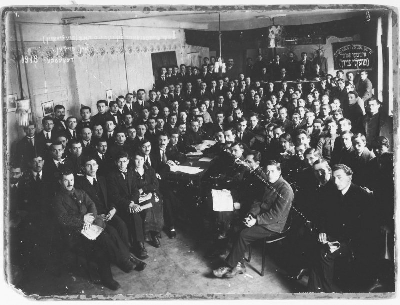 Jewish workers attend a Poale Zion conference in Warsaw at the end of World War I