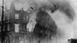 1943: Fire breaks out during the Warsaw Ghetto Uprising, a Polish insurrection against the German forces who had occupied Poland at the start of World War II. By 1944 Warsaw was the centre of Polish resistance, but the army was forced to surrender on October 2nd 1944 under pressure from German air raids. (Photo by Keystone/Getty Images)