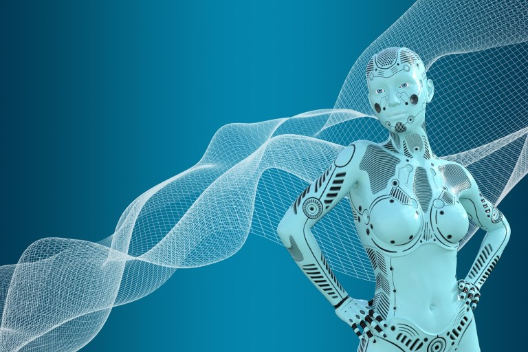 woman, robot, AI, chatbot