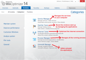 Ashampoo WinOptimizer modules improveperformance