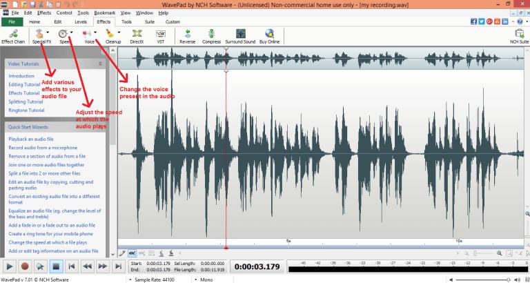 wavepad sound editor effects tab