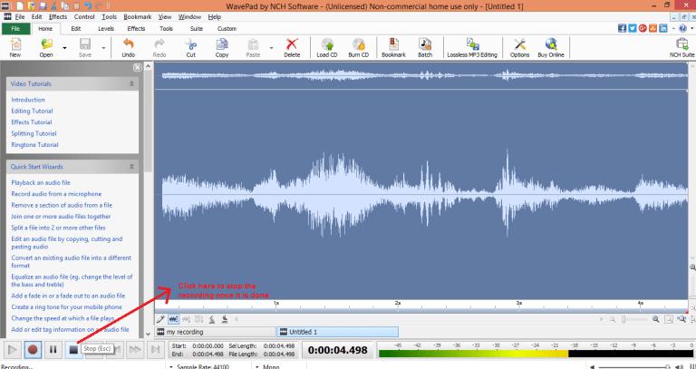 wavepad sound editor record stop
