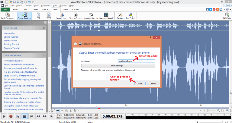 wavepad sound editor ringtone email