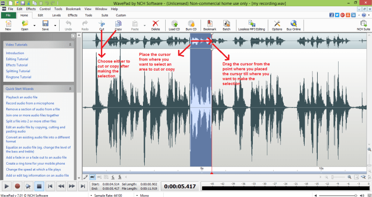 wavepad sound editor select