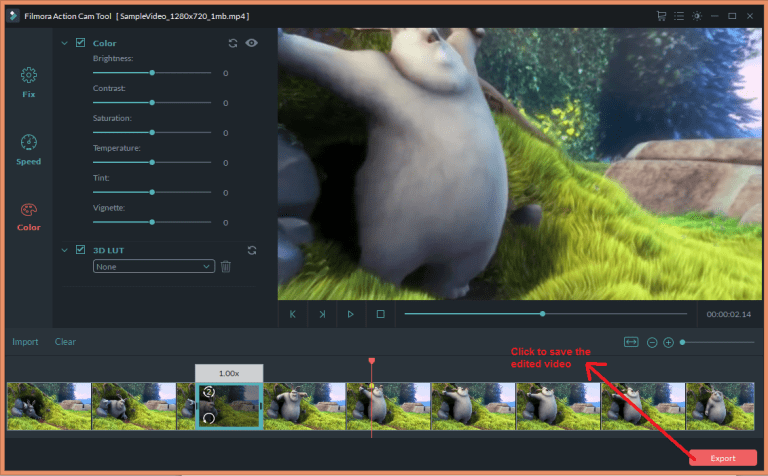 wondershare video editor actioncam export