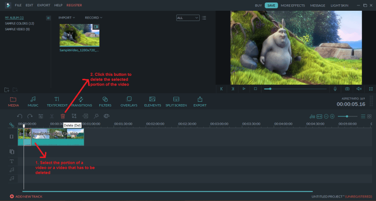 wondershare video editor delete