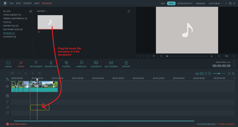 wondershare video editor musicdrag
