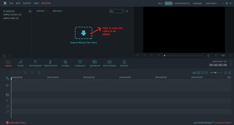 wondershare video editor open