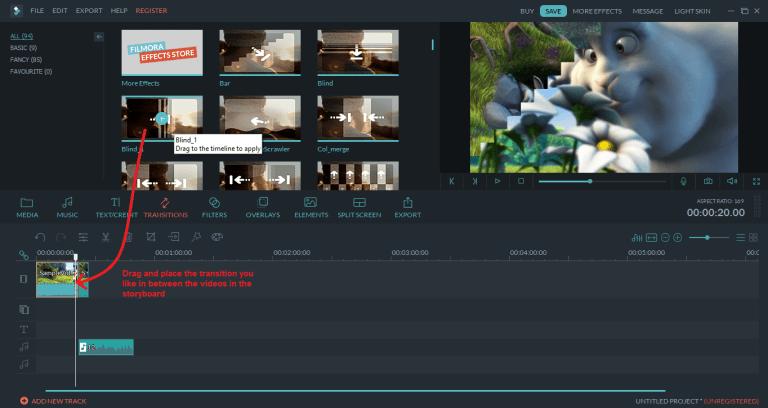wondershare video editor transition