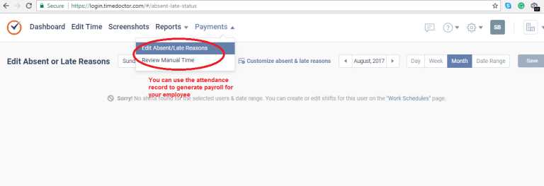 Time Doctor webpage payment