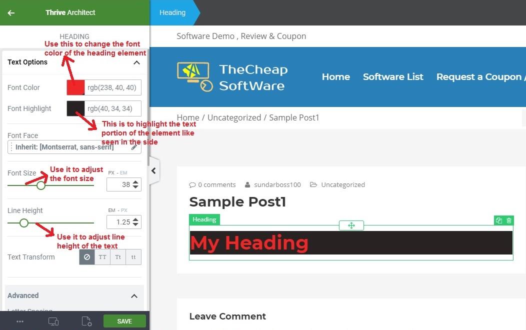 Thrive Architect textoption