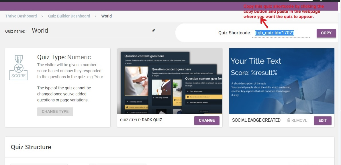 Thrive Quiz Builder quizcode