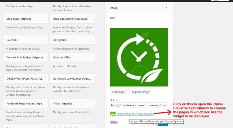 Thrive Clever Widgets click widget button