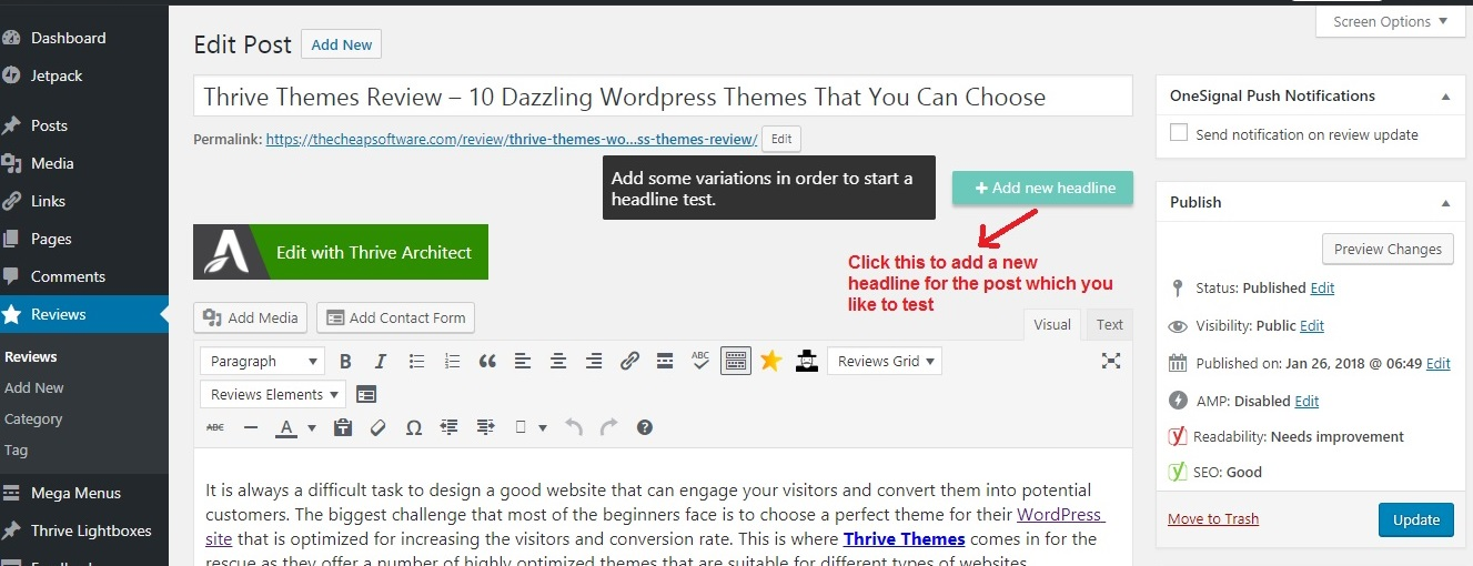 Thrive Headline Optimizer add new_postpage