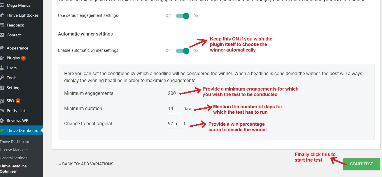 Thrive Headline Optimizer start test