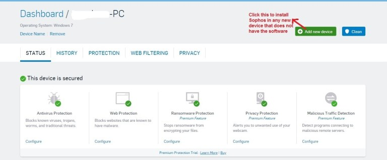 Sophos Antivirus add device