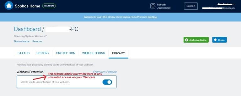 Sophos Antivirus privacy tab