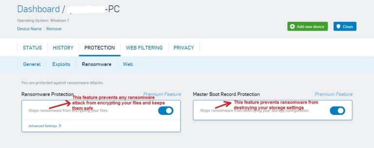 Sophos Antivirus ransomware tab