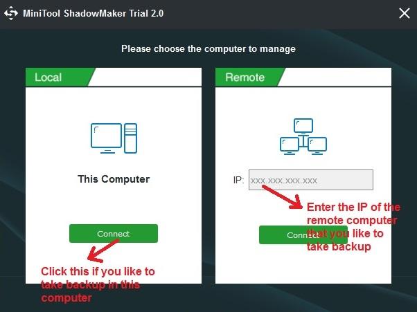 MiniTool Shadowmaker select PC