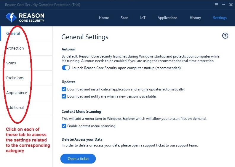 Reason Core Security settings