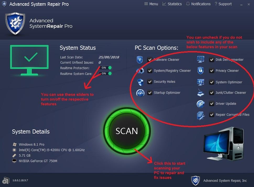 Advanced System Repair home screen