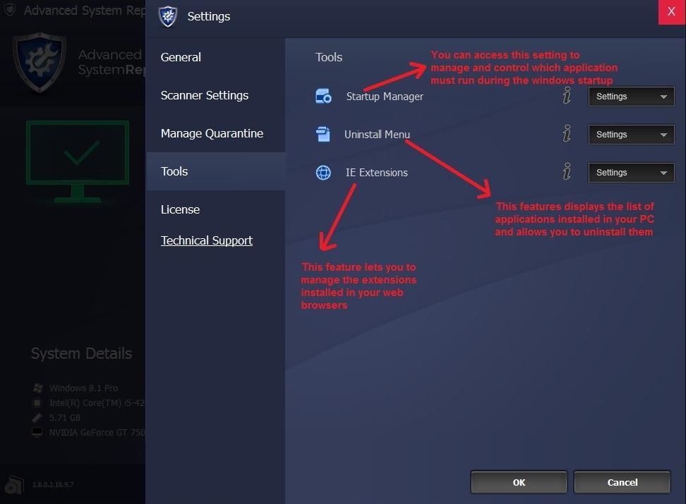 Advanced System Repair menu tools