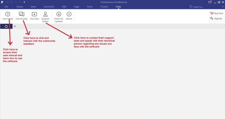 Wondershare PDFelement help tab