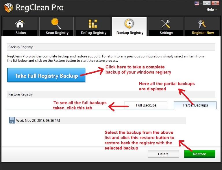 RegClean Pro backup and restore