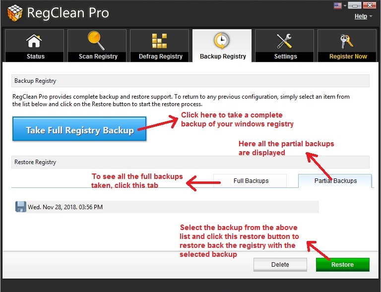 RegClean Pro backup and restore