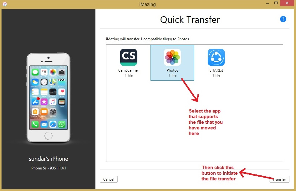 iMazing quick transfer select app